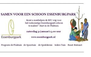 Op zaterdag 31 januari 2015 om 13.30 uur gaan diverse buurt initiatieven en buurtbewoners de RFC weg te Rotterdam samen schoonmaken. Dit groene gebied is nu nog eigendom van de NS en er is een strook met volkstuinen. Deze tuinen zullen door de NS begin dit jaar ontruimd worden. De NS wil de grond verkopen. Buurtinitiatieven als de Pluktuin, de Spoortuin, Ieders Tuin, Buurt Bestuurt en de Speeldernis pleiten voor het behouden van dit unieke groen midden in de stad en gaan voor een bos park toegankelijk voor iedereen onder de naam ESSENBURGPARK. De gebiedscommissie ondersteund dit plan van harte en ook alle raadsleden van alle politieke partijen in de gemeente raad hebben unaniem een motie aangenomen met het verzoek aan het gemeente bestuur om de mogelijkheid te gaan onderzoeken voor een park. Om ons plan onder de aandacht te houden en vooral om te laten zien dat velen in de wijk dit initiatief ondersteunen, gaan wij met hopelijk velen de RFC weg schoonmaken. Samen voor de wijk! Voor meer info: www.essenburgpark.nl of facebook essenburgpark. Komt u mee helpen. De start is in de Pluktuin aan de RFC weg 190 of met het pontje Essenburgsingel.