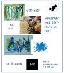 monoprint met oost indische inkt workshop 1 juli 2017