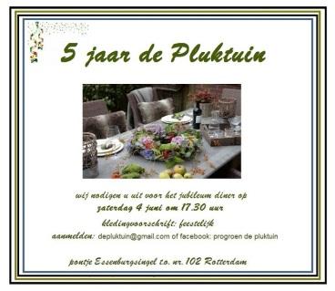 5 jaar de pluktuin uitnodiging