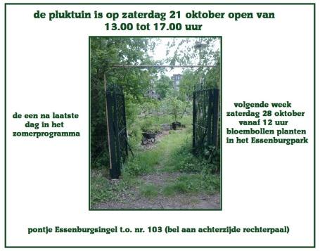 pluktuin open za 21 oktober 2017