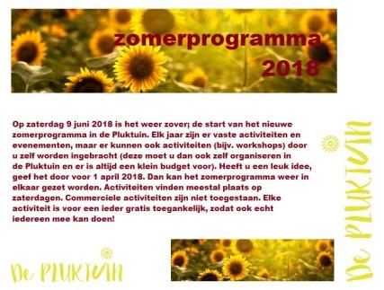 zomerprogramma 2018 oproep flyer