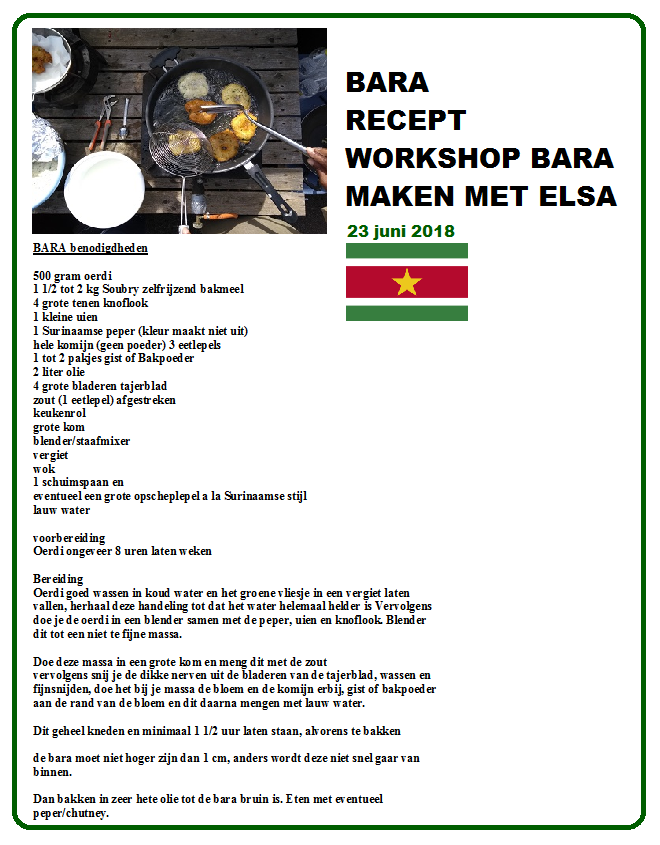 bara recept workshop 23 juni 2018