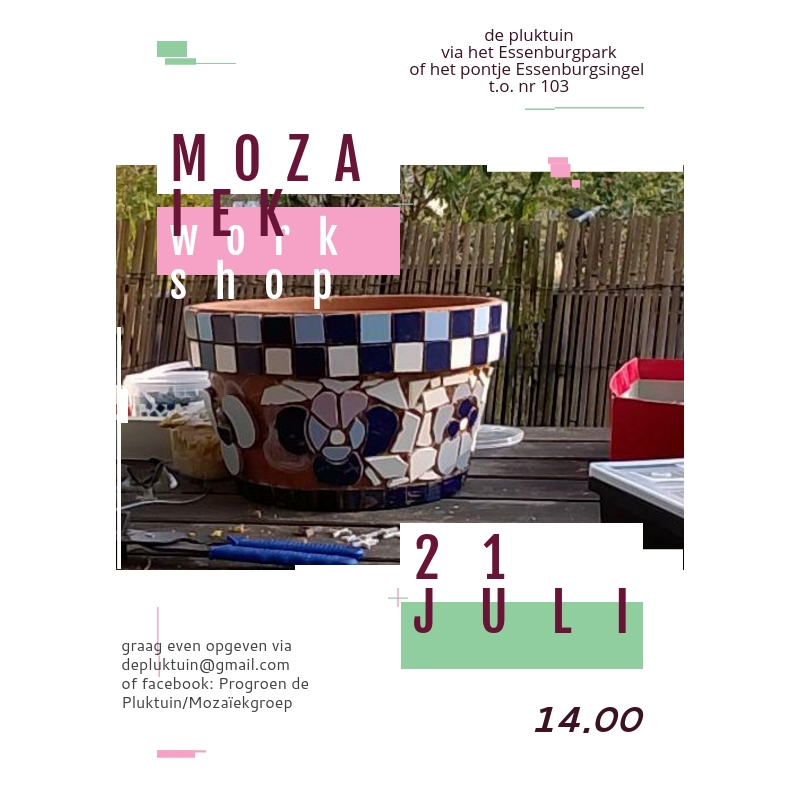 mozaiek workshop 21 juli 2018
